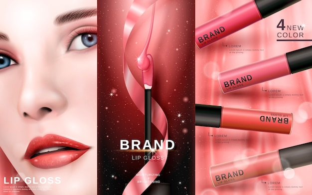 Kosmetische anzeige mit schönem modellgesicht, für kommerzielle zwecke