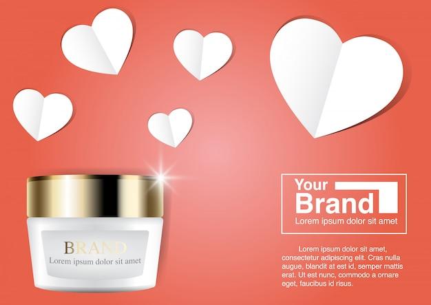 Kosmetische anzeige valentine concept und textschablone.