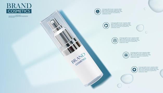 Kosmetische anzeigenvorlage. kosmetisches produkt auf blauem hintergrund. windows light shadow.drop wasser.