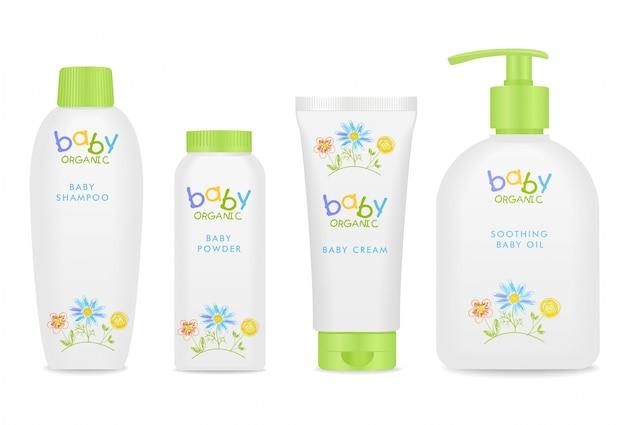 Kosmetische babyrohre mit bunten kindern