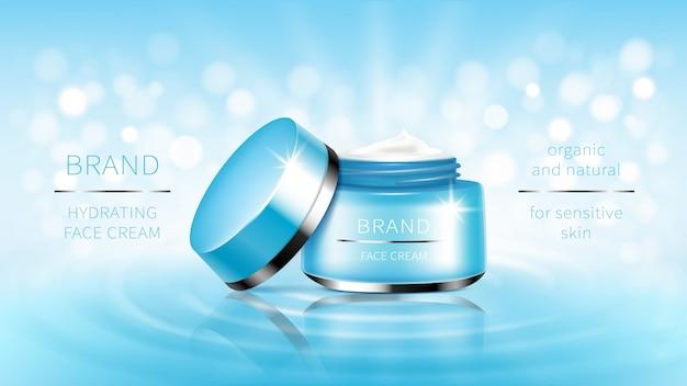 Kosmetische banner blau offenes glas für hautpflege-creme, bereit für promotion-marke.