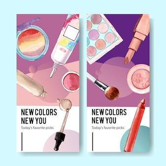 Kosmetische banner mit lidschatten, pinsel auf, lippenstift