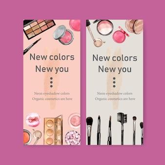 Kosmetische banner mit textmarker, foundation, lidschatten