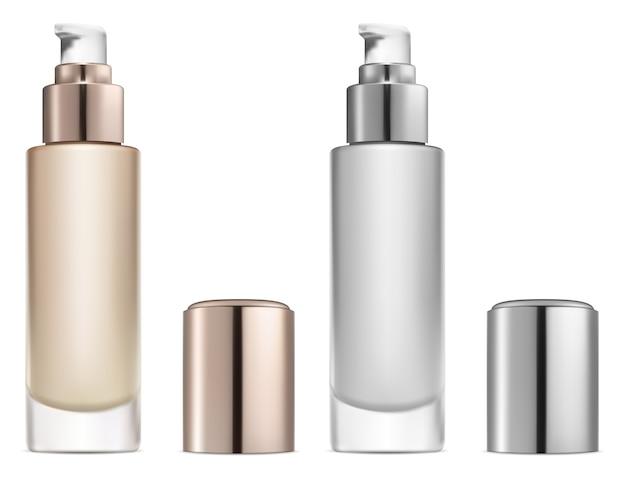 Kosmetische basiscreme. serumpumpenflasche. foundation powder beauty-paket. behälter für gesichtspflegeprodukte.