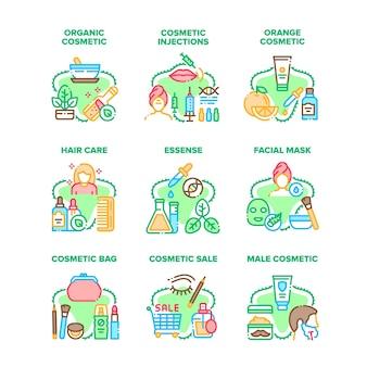 Kosmetische behandlung set icons vektor illustrationen. bio- und orangenkosmetik, essenzpflege und gesichtsmaske, medizinische injektionen und beutel, natürliche creme- und lotionsfarbenillustrationen