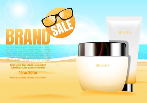 Kosmetische creme mit sand und sonnenbrille