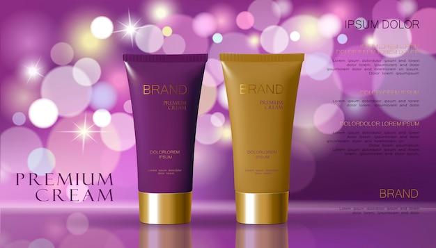 Kosmetische creme und purpurroter violetter farbhintergrund mit defocused undeutlichem hellem bokeh.