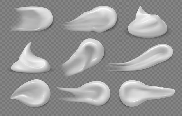Kosmetische cremeabstriche. realistische gesichtslotionscremes in strichen, wirbeln und spritzern. weißer sonnenschutz-gel-mousse-textur-vektor. make-up-schönheitskosmetikcreme, weiße farbtonillustration