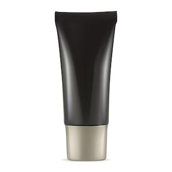 Kosmetische cremetube. schwarzer plastikbehälter für zahnpasta oder salbe lokalisiert auf weißem hintergrund