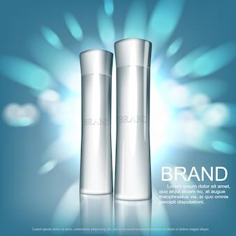 Kosmetische designvorlage. röhrenverpackung mit glänzender silberner tasse auf silbernem glitzerhintergrund mit bokeh.