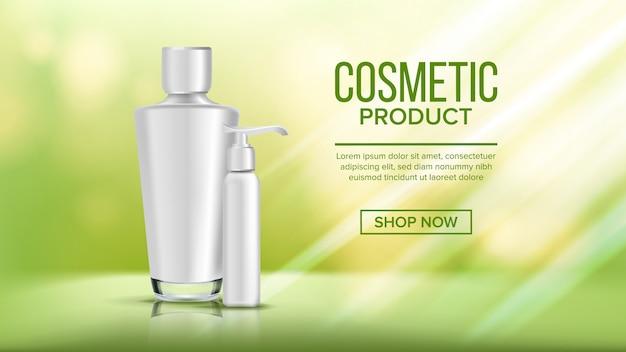 Kosmetische flasche banner vorlage