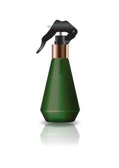 Kosmetische flasche der leeren grünen kegelform mit sprühkopf.