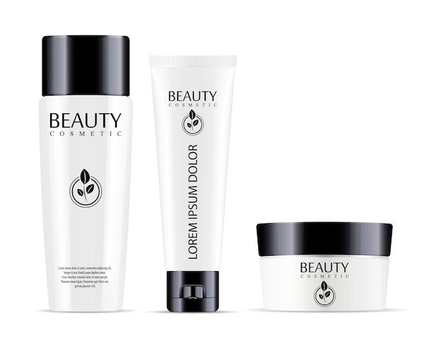 Kosmetische flasche für shampoo und glas mit tube für sahne