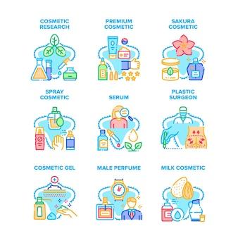 Kosmetische forschung set icons vektor illustrationen. serum und gel, parfümspray für männer und aromatische lotion premium-kosmetik aus sakura und milch. farbillustrationen für plastische chirurgen