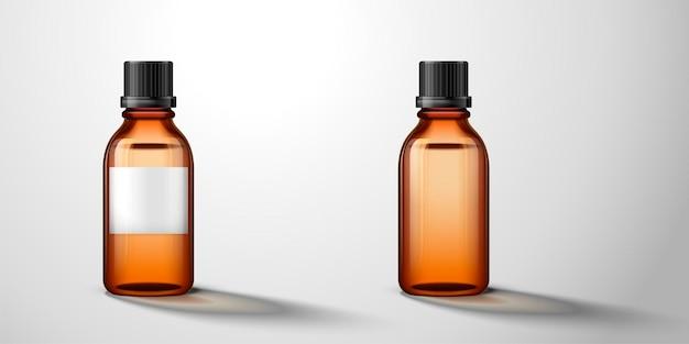 Kosmetische glasflasche, eine mit etikett darauf, durchscheinende braune flasche in der 3d-illustration