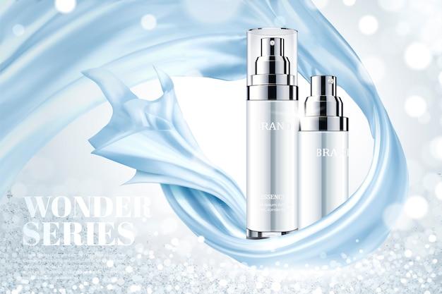 Kosmetische hautpflege-anzeigen mit blauen glatten satinelementen auf schimmerndem hintergrund