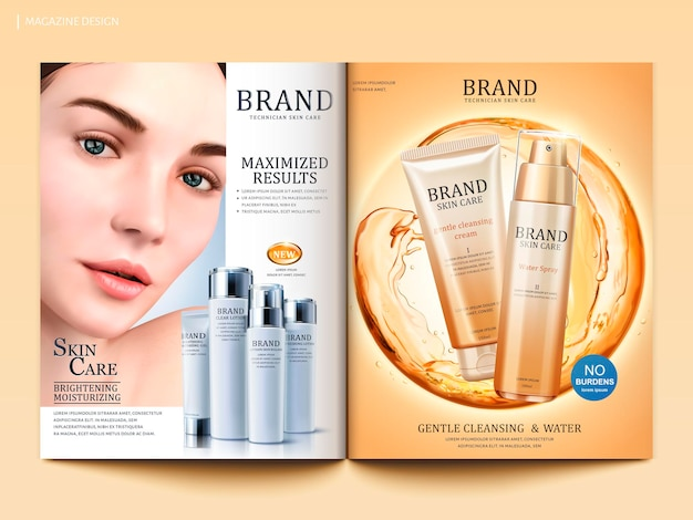 Kosmetische magazinvorlage, attraktives modell mit hautpflegeprodukten und fließenden flüssigen kugelelementen in 3d-darstellung