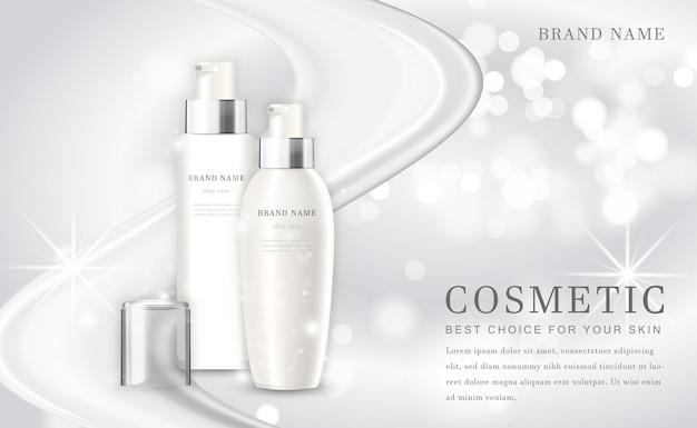 Kosmetische make-up illustration produktflasche mit elegantem weiß glänzendem hintergrund
