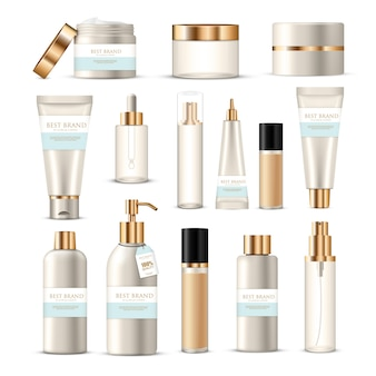 Kosmetische paketkollektion aus lotionen für schönheitsprodukte mit goldenem und silbernem branding