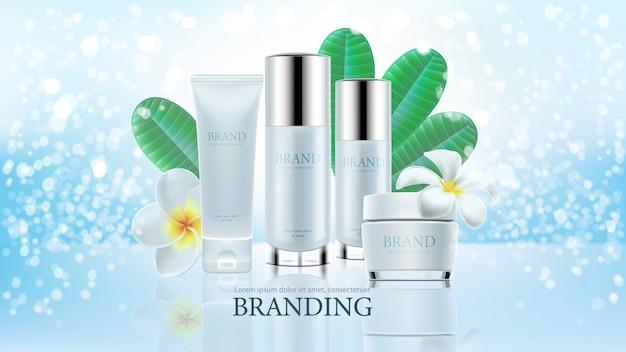 Kosmetische produktanzeigen auf blauem klarem hintergrund mit urlaub und plumeria in der illustration