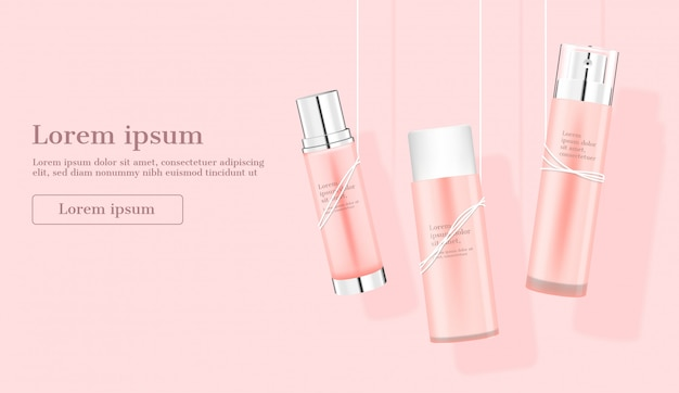 Kosmetische produkte, die durch seile auf rosa hängen
