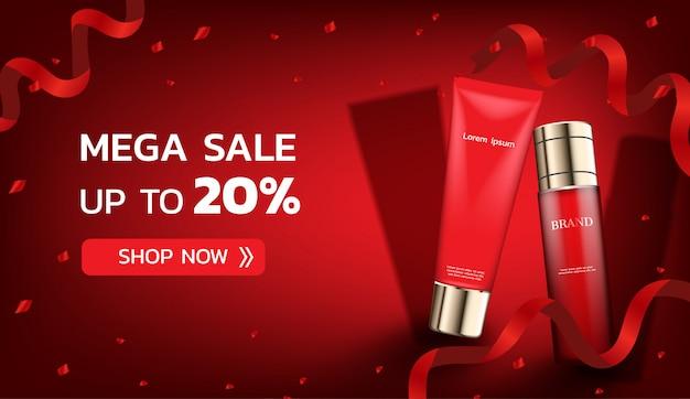 Kosmetische produkte mit roten bändern und konfetti