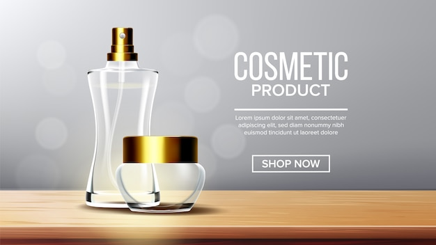 Kosmetische produkthintergrundschablone