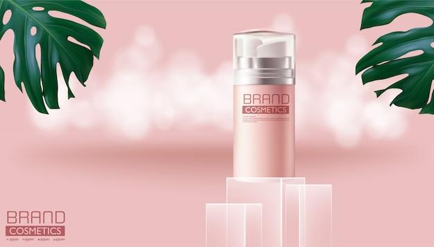 Kosmetische rosa sprühflasche auf monstera-deliciosa und rosa farbe, realistisches design, vektorillustration.