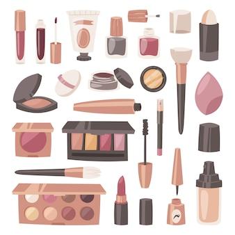 Kosmetische schönheit bilden kosmetologie für schöne frau mit make-up-grundierungspuder oder lidschatten-illustrationssatz von kosmetikzubehör lokalisiert auf weißem hintergrund