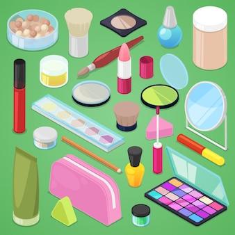 Kosmetische schönheit bilden kosmetologie für schöne frau mit make-up-grundierungspulver oder lidschatten-illustrationssatz von kosmetikerzubehör in kosmetikerin isometrisch lokalisiert auf hintergrund