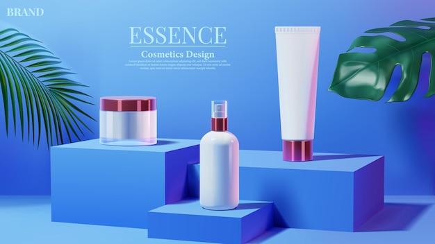 Kosmetische tube mit rosa licht und tropischem blatt auf blauem quadratischem podesthintergrund