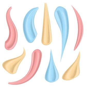 Kosmetische weiße creme des schönheitsgesichtes mit verschiedenen anschlägen.