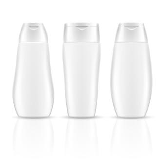 Kosmetischer behälter der weißen leeren shampooflaschen verpackt modelle.