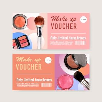 Kosmetischer beleg eingestellt mit bürste an, make-upbürste