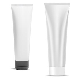 Kosmetischer cremetubenrohling, plastikverpackung isoliert auf weiß. schönheitsgelbehälter mit kappe. zahnpasta produktverpackung. realistisches gesicht creme wrapper design set, drücken Premium Vektoren
