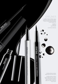 Kosmetischer eyeliner mit verpackungsplakat-design-vektor-illustration