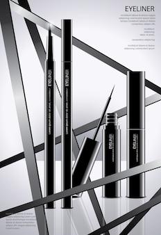 Kosmetischer eyeliner mit verpackungsplakat-illustration