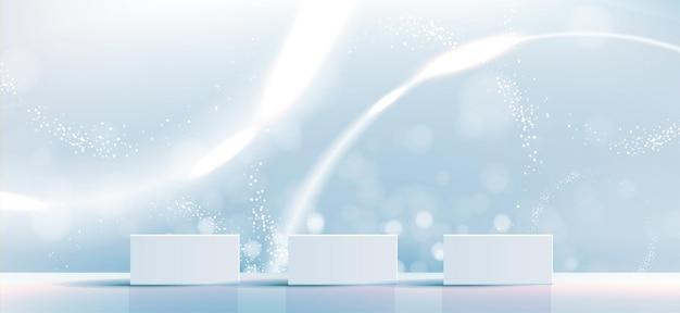 Kosmetischer hintergrund für produktbranding und verpackungspräsentationsgeometrie aus quadratischem formteil