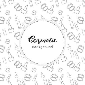 Kosmetischer hintergrund-muster-flacher lineart-ikonen-vektor