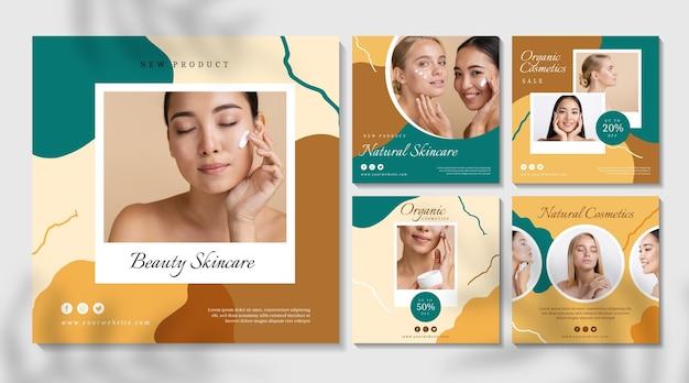 Kosmetischer instagram-beitrag der schönen frauen