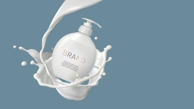 Kosmetischer milchstrudel, spritzen und weiße pumpflasche