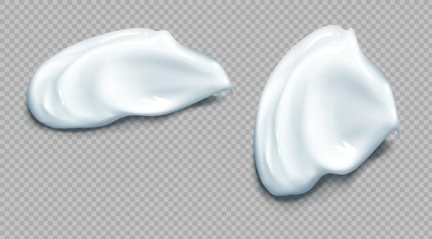 Kosmetischer oder saurer sahne-abstrich realistisches set