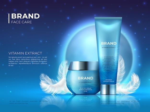 Kosmetischer produkthintergrund. realistischer lotionsbehälter der nachthautpflege-schönheitsmarke. kosmetische werbeplakatschablone