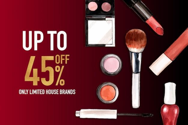 Kosmetischer social media-beitrag mit lippenstift, wimperntusche, bürste an