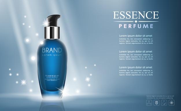 Kosmetischer spott der vektorflasche oben transparent und auf blauem hintergrund zu glänzen