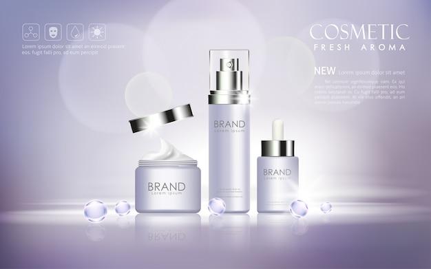 Kosmetischer spott der vektorflasche oben transparent und auf bokeh hintergrund glänzen