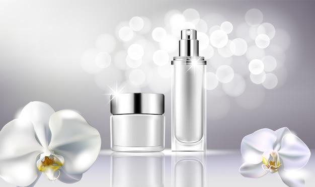 Kosmetischer spott der vektorflasche oben