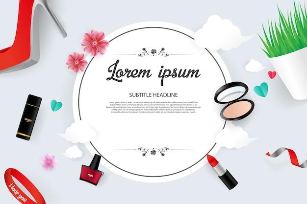 Kosmetischer vektor-illustration verkaufs-fahnen-schablonen-design