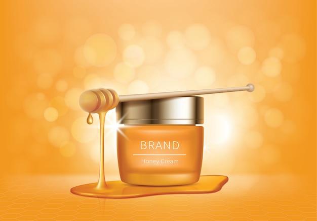 Kosmetischer vektor mit honigtropfen