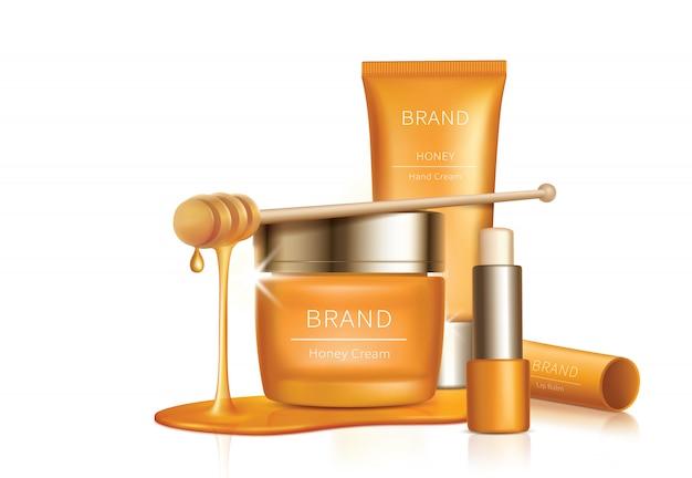 Kosmetischer vektorhintergrund mit honigtropfen